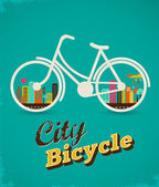 Bicycle with city landscape vintage poster