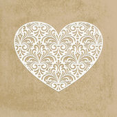 Vector paper cut lacy heart transparency effects applied