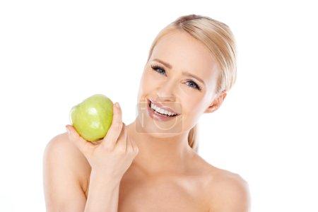拿苹果的可爱和健康女人