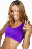 Fitness krásná mladá žena. izolované na bílém pozadí
