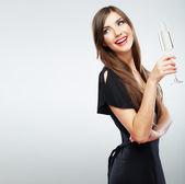 Frau mit glas champagner