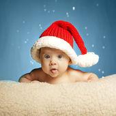 Roztomilá holčička s santa hat