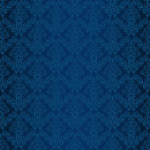 Hand drawn seamless blue damask background vector