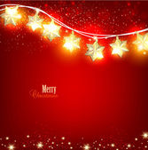 Red Christmas background with luminous garland Vector illustration
