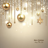 Elegant christmas background with golden baubles and stars Vector illustration