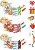 3 colour variations girl with a bow and an arrow Design elements for a holiday