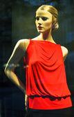 Foto della vetrina di abbigliamento moderno con manichino