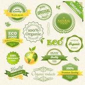 Vektor bioélelmiszerek, öko, bio címkéket és elemek