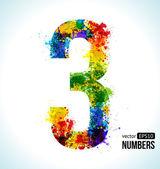 Color Paint splashes Gradient Vector Font Number 3