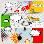 Grunge Retro Comic Speech Bubbles Vector Illustration on Strip Background Abstract Talking Clouds and Sounds