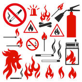 Set of fire vector icons on white background Illustration on the theme of fire