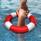 Red life buoy with hands in the water