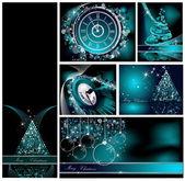Veselé Vánoce tapety kolekce stříbrná a modrá