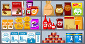 Various products on store shelves vector illustration