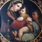 Постер, плакат: Madonna with Child and Saint John the Evangelist