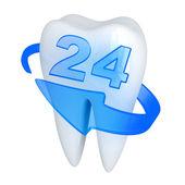 Zub a modrá šipka