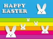 Vector - Happy Easter Rabbit Bunny on Rainbow Background