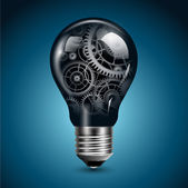 Light bulb with gears inside vector