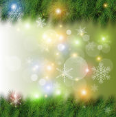 Christmas background vector christmas tree snow and lights