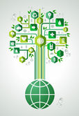 Green environment icons set tree over the world  Vector file layered for easy manipulation and custom coloring