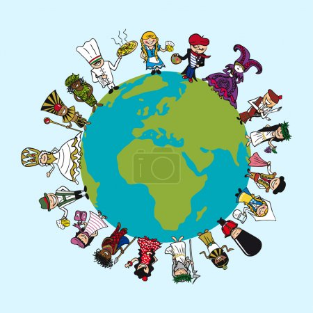 Постер, плакат: Diversity people cartoons distinctive outfit planet earth illu, холст на подрамнике