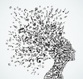 Music notes splash from woman's head illustration Vector file layered for easy manipulation and custom coloring