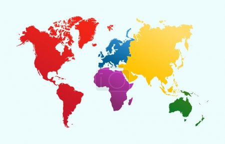 Постер, плакат: World map colorful continents atlas EPS10 vector file , холст на подрамнике