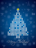 Blue and white dotted christmas card with gifts