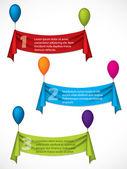 Ribbon infographic design hanging on ballons