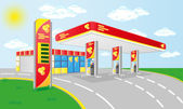 Car petrol station vector illustration