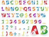 Very fun colorful bold upper case alphabet with symbols in primary and secondary colors metallic shine with shadows over white