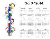 Semplice calendario sul nuovo anno scolastico 2013 e 2014 con bambini felici