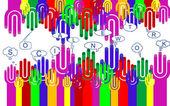Boldog csoport ujj smiley jel szociális chat, vektor