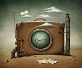 Konzeptionelle Abbildung einsamer Koffer in Wüste