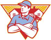 Builder stavební dělník kladivo dům