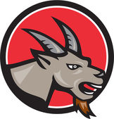 Illustration of an agnry ram mountain goat head facing front set inside circle done in cartoon style