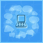 Přenosný počítač uprostřed transparentní projev mraky