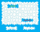 Blank jigsaw with missing pieces and the words success and failure Individual pieces can be moved and colored independently