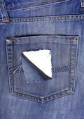 Děravého zadní kapse džíny