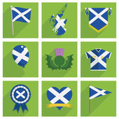 Set of square scotland icon decorations with long shadows isolated on white