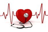 3D-s nagy piros szív-egészségügyi és gyógyszer fogalma