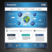Blue Modern Website Design Template with Earth Globe and Skies with Clouds - Illustration in Freely Scalable and Editable Vector Format
