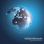 Abstract Blue Global Networks Concept Design with Earth Globe - Illustration in Freely Scalable and Editable Vector Format