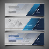 Set of Blue and Silver Grey Horizontal Headers or Banners with Abstract World Map Background - Design Template for Business or Technology in Freely Scalable and Editable Vector Format