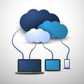 Everything's Connected  to the Global Cloud - Abstract Blue Cloud Computing Concept Design with Mobile Computing Devices Laptop and Tablet PC for IT Business or Technology - Illustration in Editable Vector Format
