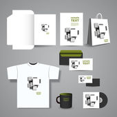 Stationery, Corporate Image Design with Abstract White and Grey Squares Background
