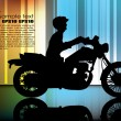Постер, плакат: Motorcyclist on abstract background