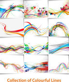Set of abstract wave line poster with space of your text