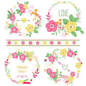 Set of cute floral bouquets retro roses isolated Wedding birthday celebration card template