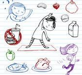 Zdravého životního stylu, doodle sada